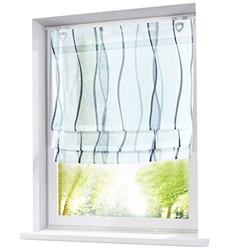 BAILEY JO Ösenrollo Wellen Druck Design mit U-Haken Raffrollo Voile Transparent Vorhang