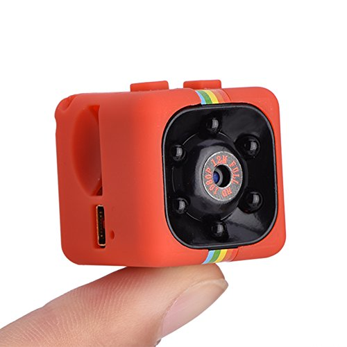 Mini cámara HD 1080P, cámaras de video de acción 1920 * 1080 Visión nocturna IR Impermeable Micrófono incorporado Compatible con tarjeta TF (Hasta 32GB) Detección de movimiento 200mAh(red)