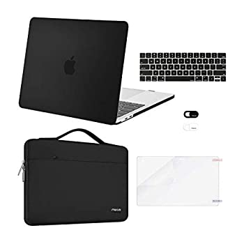 MOSISO Compatible with MacBook Pro 13 inch Case 2016-2020 Release A2338 M1 A2289 A2251 A2159 A1989 A1706 A1708 Plastic Hard Shell Case&Bag&Keyboard Skin&Webcam Cover&Screen Protector Black