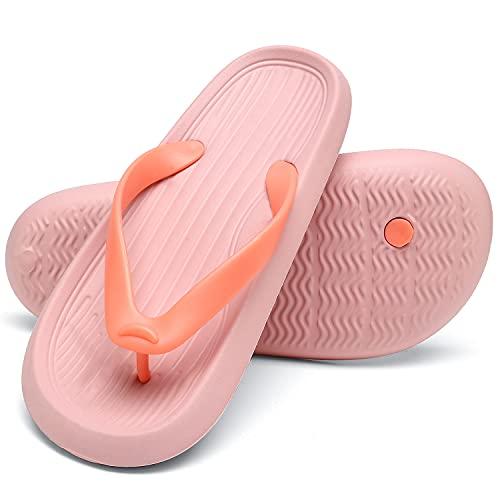 ChayChax Chanclas Hombre Mujer Verano Sandalias de Playa y Piscina Ligero Zapatillas de Ducha Antideslizante(Rosa,36-37 EU