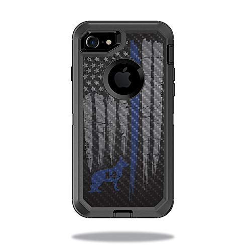 MightySkins Carbon Fiber Skin for OtterBox Defender iPhone 8 - Thin Blue Line K9 | Protective, Durable Textured Carbon Fiber Finish | Easy to Apply, Remove, and Change Styles | Made in The USA