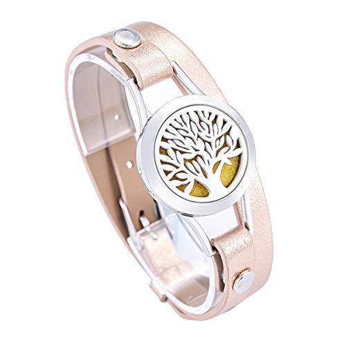 HooAMI Leder Armband Aroma Diffusor Parfuem Armband Hohles Lebensbaum Aetherisches Oel Doppelschichte Verstellbar Lederarmreif Armbanduhr 40cm