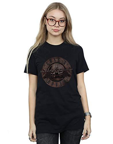 Guns N Roses Mujer Sepia Bullet Camiseta del Novio Fit Negro Small