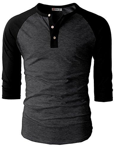 H2H Mens Casual Slim Fit Raglan 3/4 Sleeve Henley T-Shirts CHARCOALBLACK US L/Asia XL (CMTTS0174)