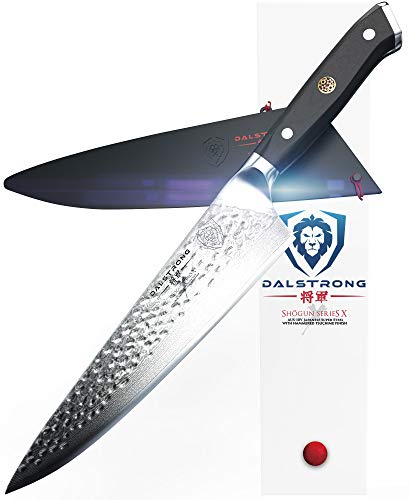 """DALSTRONG Chef's Knife - Shogun Series - Damascus - Japanese AUS-10V Super Steel - Vacuum Treated (10.25"""" X Chef Knife, Black Handle)"""