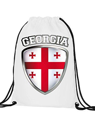 Golebros Georgien Georgia Fan Artikel 4739 Fuss Ball Turn Sport Beutel Unisex EM 2020 WM 2022 Trikot Flagge Fahne Kinder Kids Junge Mädchen Weiss