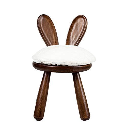 LAOMAO Nordic in de creatieve kaptafel stoel konijn stoel kinderstoel dierlijke ontlasting massief hout lui anti-slip huis persoonlijkheid Bruin-a