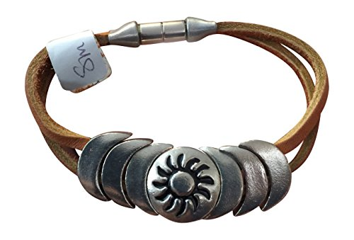 """Native American Indian Leather Magnetic Bracelet """"Perception"""" Brown Hand Made S"""