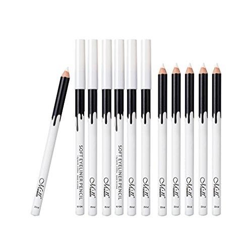 Fenteer 12pcs Stylo Crayon à Paupières à Eyeliner Ombre à Paupières Professionnel Couleur blanche