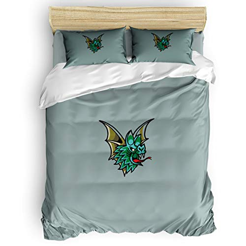 Beauty Decor Soft Duvet Cover with Zipper Closure Merry Christmas Theme 4-Piece Set Bedding Comforter Cover with Corner Ties and 2 Pillow Shams, Queen Size