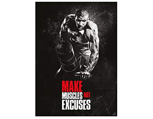 GREAT ART Motivationsposter 59,4 x 42 cm – Poster Format A2 Wandposter Fitnessposter für Wohnung, Fitnesstudio oder Trainingsraum Motivational Quotes – Make Muscles not Excuses – Nr.10