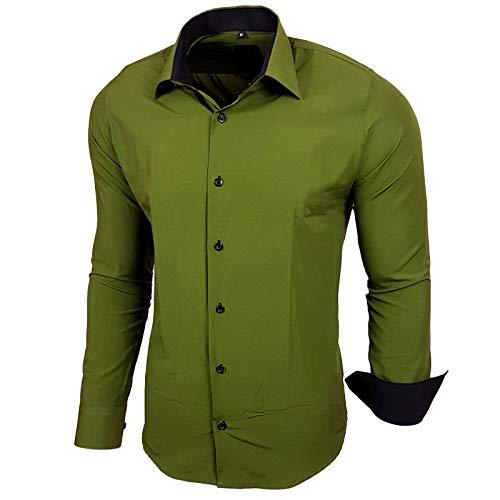 Baxboy Herren-Hemd Slim-Fit Bügelleicht Für Anzug, Business, Hochzeit, Freizeit - Langarm Hemden für Männer Langarmhemd R-44, Größe:XL, Farbe:Khaki