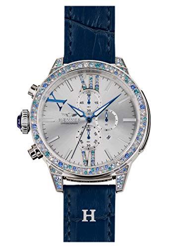 HæMMER Haeven dameshorloge van roestvrij staal, exclusief gelimiteerde dameshorloge met kalfsleer armband, luxe horloge met blauwe Swarovski-kristallen