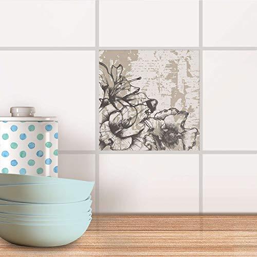 creatisto Fliesenposter für Küche und Bad I Fliesen-Sticker Aufkleber selbstklebend I Fliesen renovieren - Fliesentattoo für Küchen- und Badfliesen I Design: Styleful Vintage 1