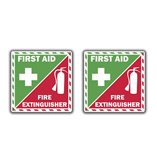 First Aid Fire Extinguisher Inside Vinyl Sticker Decal Emergency Safety Kit Set of 2 (3