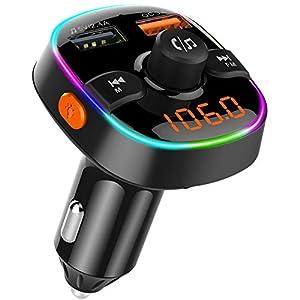 iitrust Transmisor FM Manos Libres Bluetooth 5.0, para Coche QC3.0 Carga rápida, Reproductor MP3 Coche, Adaptador de Radio Dual USB QC3.0 & 5V/2.4A, 7 Colores Luz de Anillo, Tarjeta TF & U Disk
