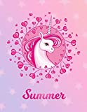 Summer: Unicorn Sheet Music Note Manuscript Notebook Paper | Magical Horse Personalized Letter S Initial Custom First Name Cover | Musician Composer ... Notepad Notation Guide | Compose Write Songs