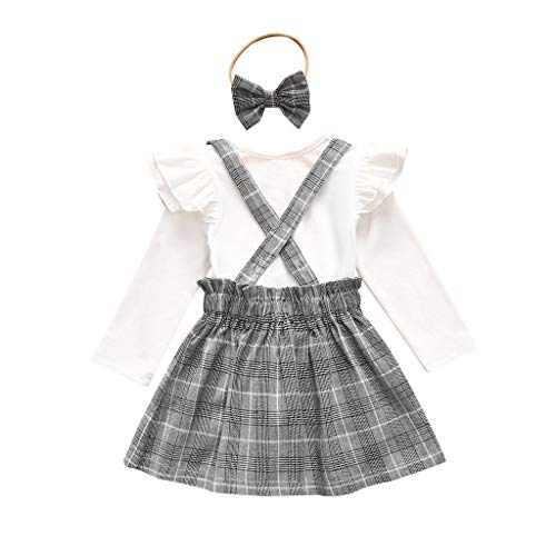 LUCOG Pas Cher Vêtements Enfants Été, 12-18 Mois Toddler Enfants Baby Filles Tops à Manches Longues Plaid Slip Dress Headbands Outfits Set Unisexe Chic Cadeau Saint-Patrick (Blanc)