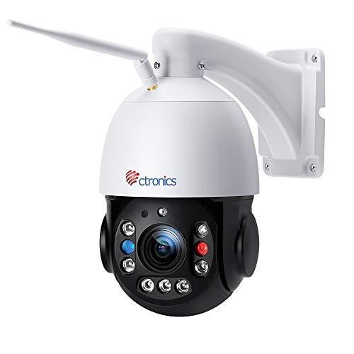 [30X Zoom óptico 5MP] Ctronics Cámara de Vigilancia WiFi Exterior Visión Nocturna HD de 150M Cámara de Seguridad PTZ WLAN Detección Humana, Seguimiento Automático, Alarma Audible, IP66 Impermeable