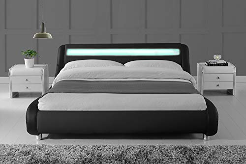 Allewie Wave-Like Curve Deluxe Upholstered Modern Bed Frame with LED Headboard/Mattress Foundation/No Box Spring Needed/Strong Metal Slats Support/Easy Assembly, Black, Queen