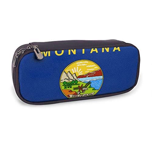 Estuche Escolar de Gran Capacidad,Bandera Del Estado de Montana,Bolsa de Lápiz Organizador para Material Papelería con Cremallera Doble