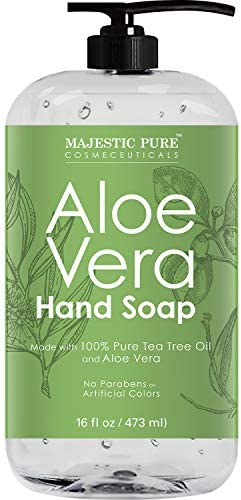 Majestic Pure Aloe Vera Liquid Hand Soap Multi Purpose Hand Wash with Therapeutic Tea Tree Spearmint product image