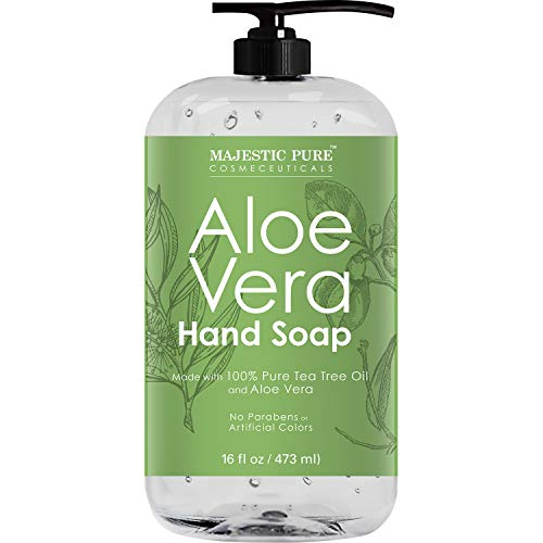 Majestic Pure Aloe Vera Liquid Hand Soap - Multi Purpose Hand Wash with Therapeutic Tea Tree, Spearmint & Peppermint Oils, Pump Dispenser, Sulfate Free - 16 fl oz