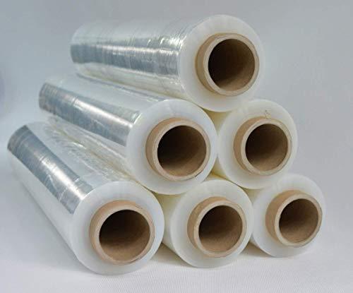 6 Rollen Stretchfolie 23my 500mm 1,5kg Palettenfolie Handfolie Wickelfolie transparent Schrumpffolie wrapping film stretch Plastikfolie Verpackungsfolie (Transparent, 6x)