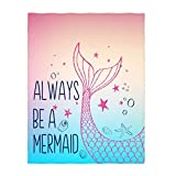 kksme 58 x 80 Inch Always Be A Mermaid Pattern Super Soft Throw Blanket for Bed Sofa Lightweight Blanket for All Seasons