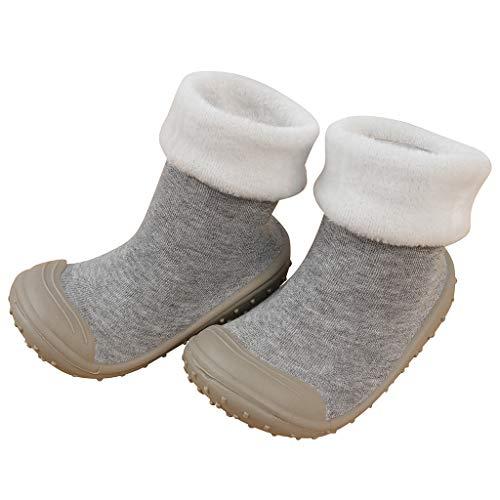Shan-S Baby Girls Boys Socks Shoes,Children's Solid Color Rubber Sole First Walker Soft Non-Slip Prewalker