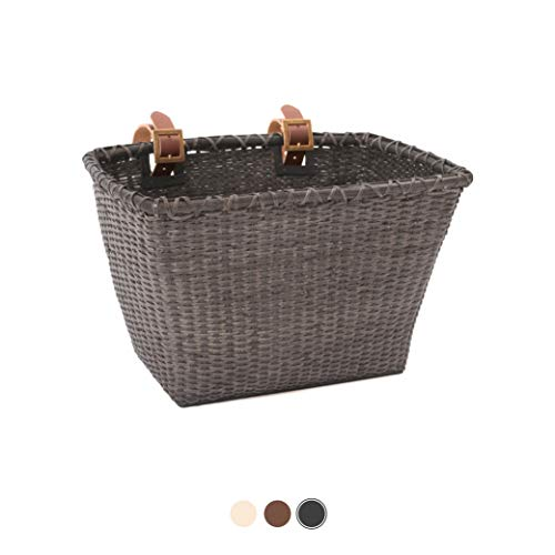 For Sale! Retrospec Bicycles Cane Woven Rectangular Toto Basket with Authentic Leather Straps and Br...