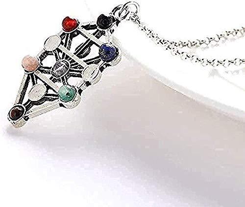 Collar Collar Antiguo Hueco 7 Piedras de Chakra Reiki Balance Buda Collares Pendientes Collar de Piedra de Yoga para Mujer Collar Colgante de joyería Regalo para Mujeres Hombres Niñas Niños