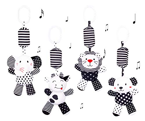 SKK BABY Black and White Hanging Rattle Toys Pram Pushchair Car seat Cot Clip on Activity Toy Forest Animals For 0-36 Months(4 Pack)
