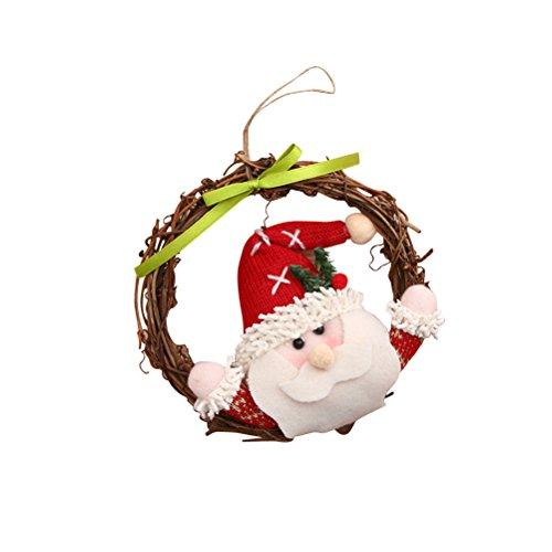 Tinksky Guirlande de Noël Porte Guirlande Décoration Partie Poinsettia Pine Home Decor Couronne (Père Noël)