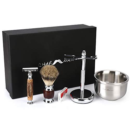 CHARMMAN メンズ旧式シェービング用品セットで、アナグマ毛ブラシ、竹製ハンドル及び安全髭剃りスタンド、3層保温の泡立ち石鹸ボウル、替刃10個が入っていています。