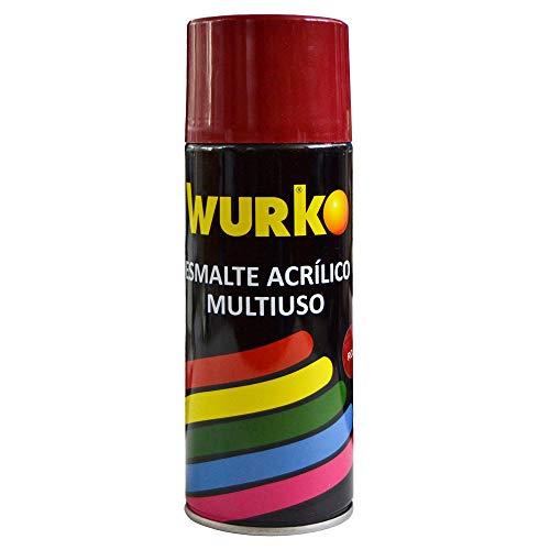 Wurko - Spray Pintura Esmalte Acrílica Rojo Bermellón, Bote 400 ml