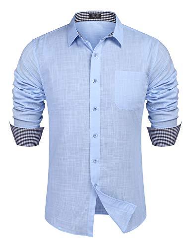 COOFANDY Leinenhemd Herren Langarmhemd Freizeit Hemd männer Kent-Kragen Business Casual Blau L