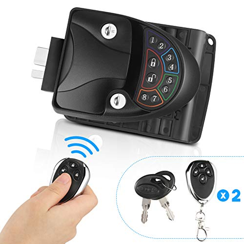 RV Door Lock Keyless Entry with Deadbolt, Zinc Alloy RV Door Latch with Two Wireless Remote Controllers, Handle Latch with Keypad