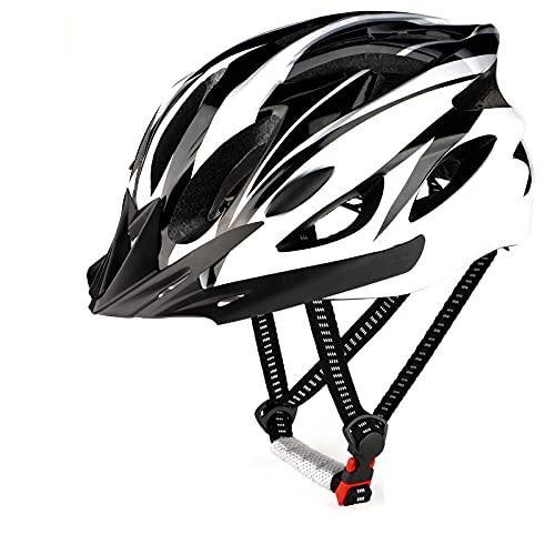 RaMokey Fahrradhelm für Erwachsene Herren Damen, EPS-Körper + PC-Schale, MTB Mountainbike Helm mit Abnehmbarem Visier und Polsterung, Verstellbar Radhelm 57-63cm (Weiß...