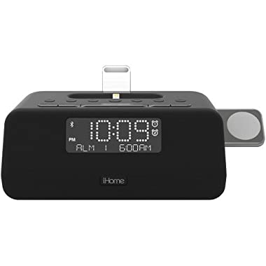iHome iPLWBT5B Bluetooth Dual Alarm FM Clock Radio w/Speakerphone & Triple Charging Lightning Dock for iPhone 7/7Plus 6/6Plus 5/SE w Integrated Apple Watch Charger and USB Charger for Any USB Device
