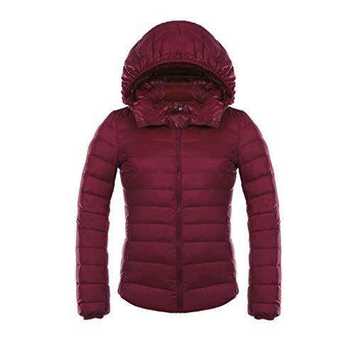 Mxssi Piumini da Donna Ultra Light Piumini da Donna Antracite Slim Felpa da Autunno con Cappuccio Parka Wine Red 3XL