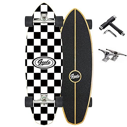 VOMI Skateboard Completo Monopatín Rodamiento ABEC-7, 80×20cm, 8 Capas Monopatín de Madera de Arce, 4 Ruedas Doble Patada Skateboard, para Adolescentes Principiantes Niñas Niños Adultos,B