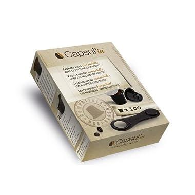 Capsul'in MYCNCCB100 100 Piece Fillable Espresso Tea and Coffee Compatible Pod, Black