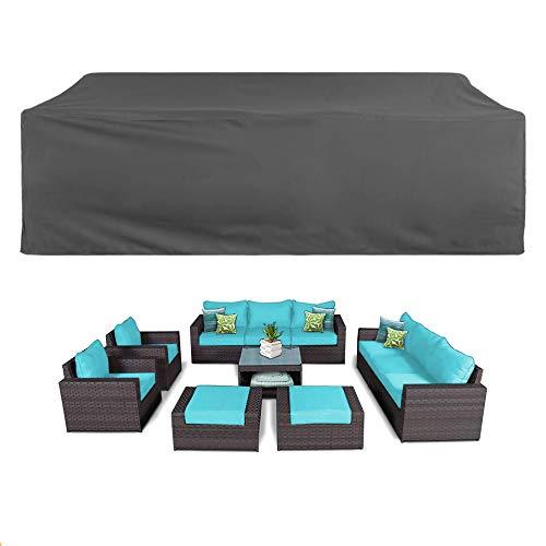 Funda Muebles Jardín Cubierta de Protección para Mesa Muebles mpermeable 420D Oxford para Sofa de Jardin,Patio,al Aire Libre,Funda para Sofa de Esquina