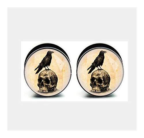 CHENGTAO 1 Par De Cráneo De Aves De Calibración Tornillo De Acero Inoxidable Fit Oído De La Joyería Enchufes Túnel De La Carne del Cuerpo Durable (Metal Color : 5mm)