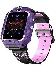 4G Smart klocka för barn, GPS Bluetooth-kamera, multifunktion dubbel kamera video telefonövervakning spårare positionering, används för födelsedagsleksaker, barn, pojkar, flickor EU Lila