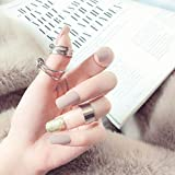 Handcess 24pcs French False Nails Glitter Nude Short Square Press en uñas Uñas postizas Cubierta completa Uñas Arte para mujeres