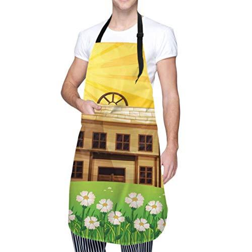 LINPM Unisex Schürze, wasserdicht langlebig verstellbar Cartoon Sunshine Village Vektor Kochschürzen Damen Schürze für Geschirrspülen BBQ Grill Restaurant Garden