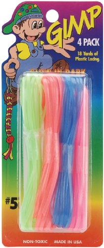 Pepperell Gimp Plastic Craft Lace, 4.5-Yard, Glow in The Dark Neon, 4 Per Package
