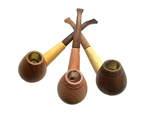 Set of 3 Tobacco Pipe – Handmade Wooden Smoking Pipes for Tobacco and Herbs – Unique 100% Natural Long Smoking Pipes